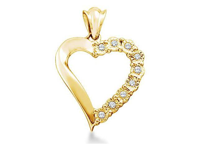 10k Yellow Gold Round Diamond Love Heart Shape Pendant - 16mm Width * 21mm Height (.08 cttw, H Color, I1 Clarity)