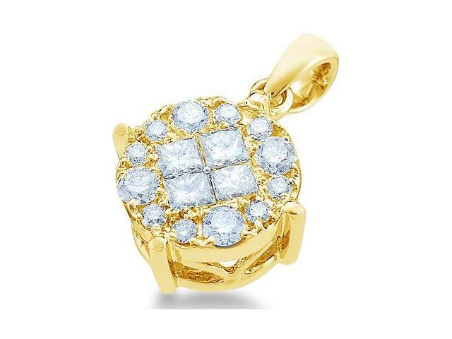 14k Yellow Gold Princess Cut and Round Invisible Channel Set Diamond Solitaire Style Pendant - 17mm Width * 17mm Height (1/2 cttw, G - H Color, SI2 Clarity)