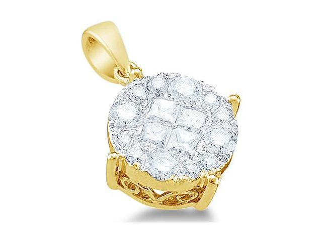 14k Yellow Gold Princess Cut and Round Invisible Channel Set Diamond Solitaire Style Pendant - 9mm Width * 14mm Height (1/4 cttw, G - H Color, SI2 Clarity)