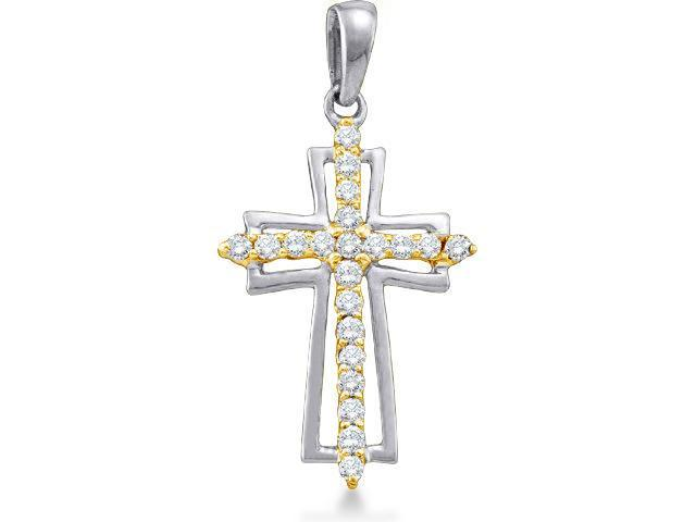 10k White and Yellow 2 Two Tone Gold Round Brilliant Cut Diamond Cross Pendant - 14mm Width * 28mm Height (1/4 cttw, H Color, I1 Clarity)
