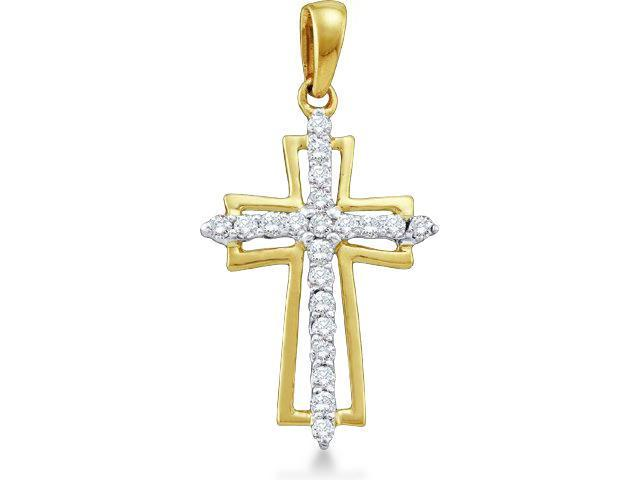 10k Yellow and White 2 Two Tone Gold Round Brilliant Cut Diamond Cross Pendant - 14mm Width * 28mm Height (1/4 cttw, H Color, I1 Clarity)