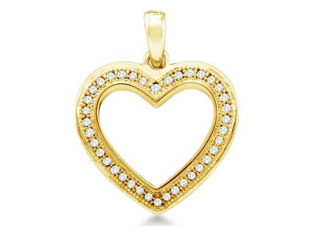 10k Yellow Gold Round Pave Set Love Heart Shape Diamond Pendant (1/10 cttw, H Color, I1 Clarity)