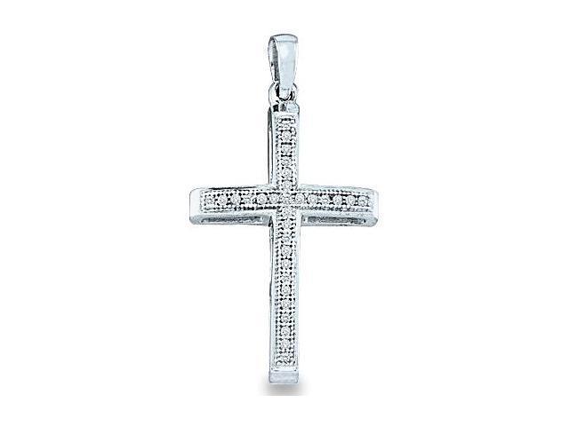 10k White Gold Round Cut Pave Set Diamond Cross Pendant (.08 cttw, H Color, I1 Clarity)