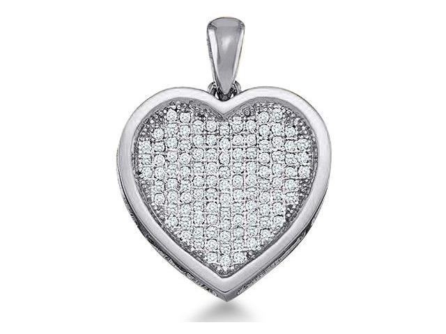 10k White Gold Round Micro Pave Set Love Heart Shape Diamond Pendant - 14mm Width * 19mm Height (1/4 cttw, H Color, I1 Clarity)