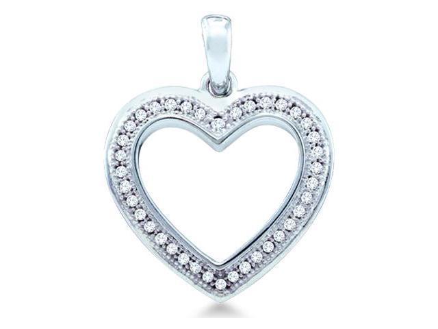 10k White Gold Round Pave Set Love Heart Shape Diamond Pendant (1/10 cttw, H Color, I1 Clarity)
