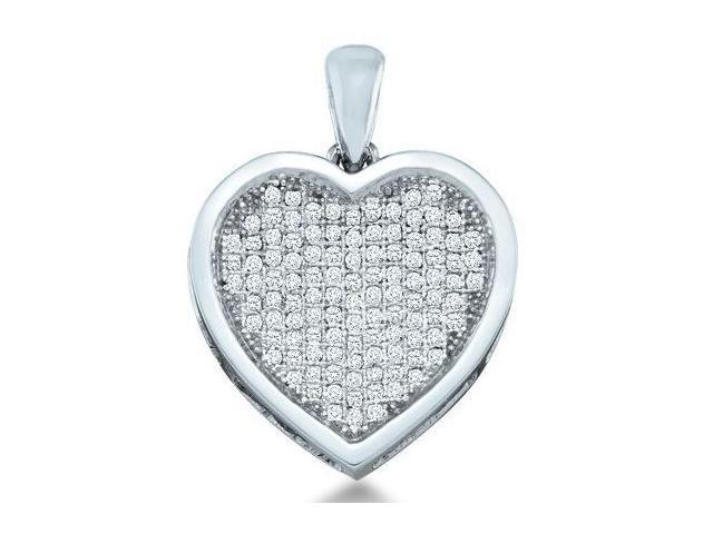 10k Yellow Gold Round Micro Pave Set Love Heart Shape Diamond Pendant - 16mm Width * 20mm Height (1/3 cttw, H Color, I1 Clarity)
