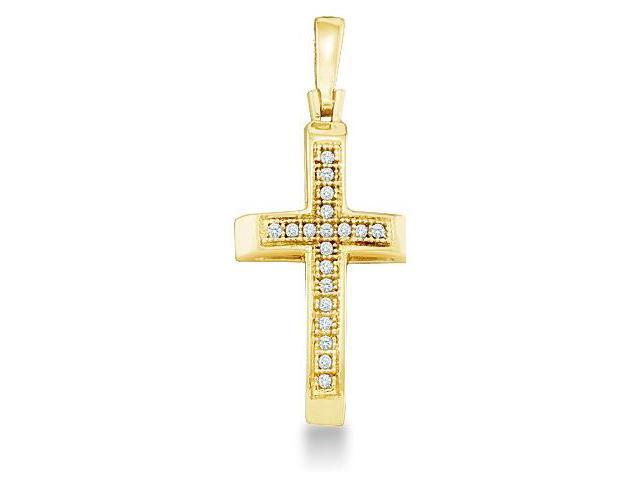 10k Yellow Gold Round Cut Pave Set Diamond Cross Pendant (.05 cttw, H Color, I1 Clarity)