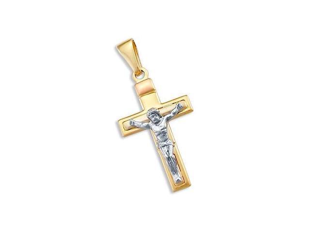 14k Yellow White Rose Gold Cross Pendant Crucifix Charm (Height = 1.5