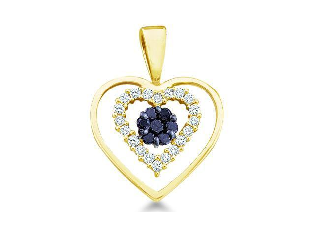 10k Yellow Gold Black and White Diamond Round Cut Love Heart Shape Diamond Pendant - 16mm Width * 20mm Height (1/4 cttw, H Color, I1 Clarity)