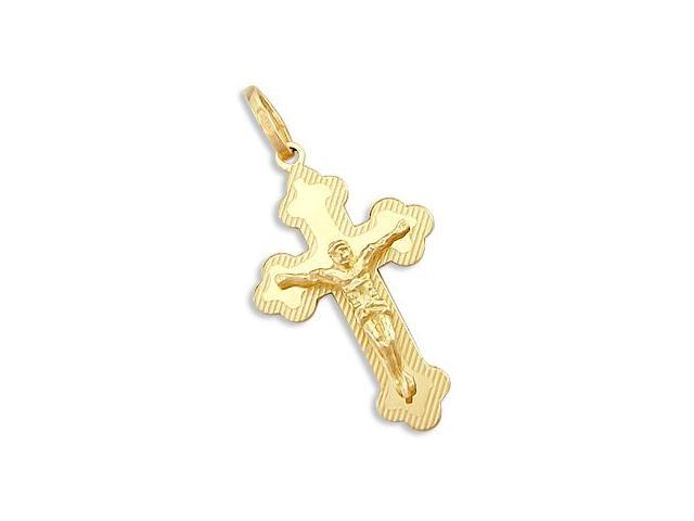 Solid 14k Yellow Gold Cross Crucifix New Charm Pendant (Height = 1.25