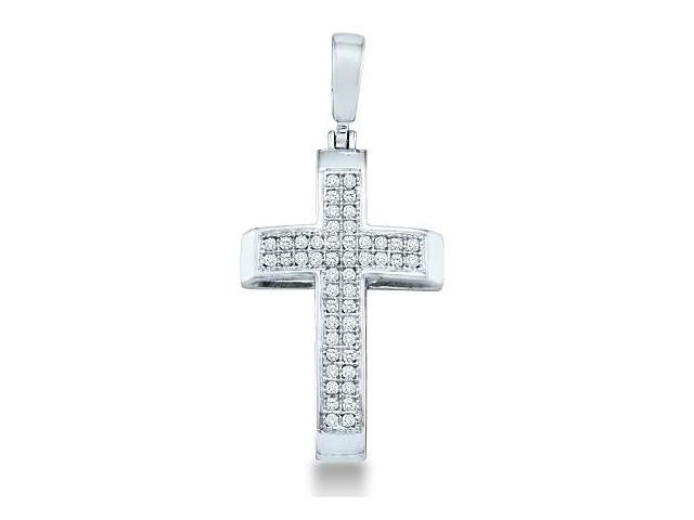 10k White Gold Round Cut Pave Set Diamond Cross Pendant - 13mm Width * 26mm Height (.15 cttw, H Color, I1 Clarity)