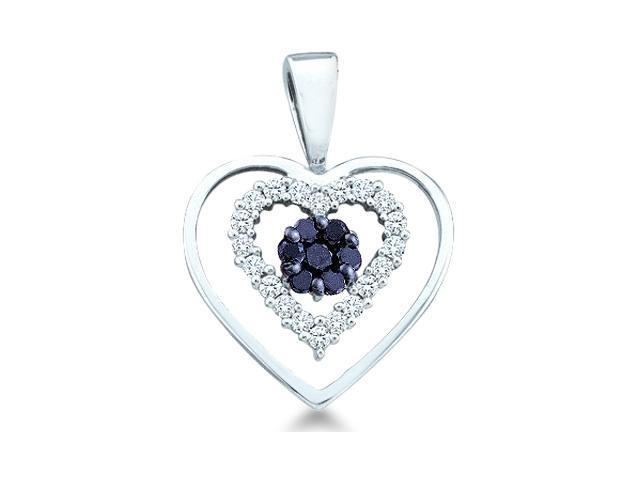 10k White Gold Black and White Diamond Round Cut Love Heart Shape Diamond Pendant - 16mm Width * 20mm Height (1/4 cttw, H Color, I1 Clarity)