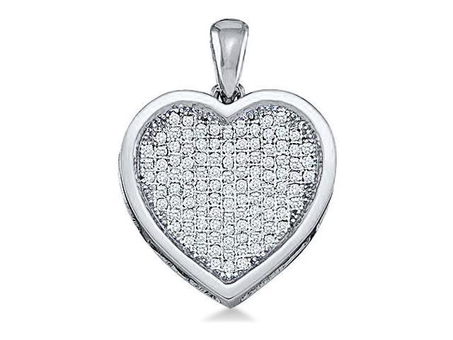 10k White Gold Round Micro Pave Set Love Heart Shape Diamond Pendant - 19mm Width * 25mm Height (1/2 cttw, H Color, I1 Clarity)