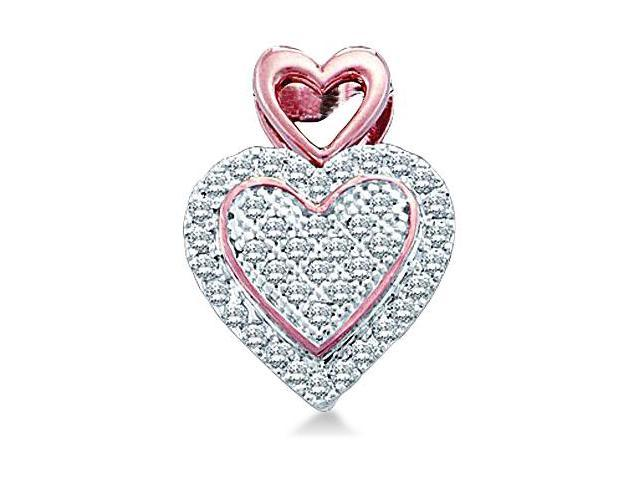 10k White and Rose Gold 2 Two Tone Round Cut Pave Set Diamond Heart Shape Love Pendant - 10mm Width * 13mm Height (.15 cttw, H Color, I1 Clarity)