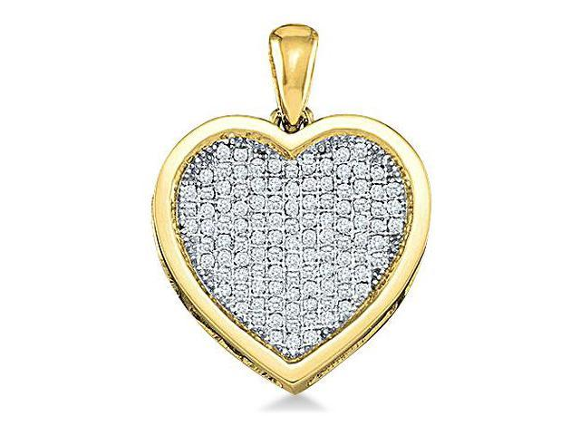 10k Yellow Gold Round Micro Pave Set Love Heart Shape Diamond Pendant - 19mm Width * 25mm Height (1/2 cttw, H Color, I1 Clarity)