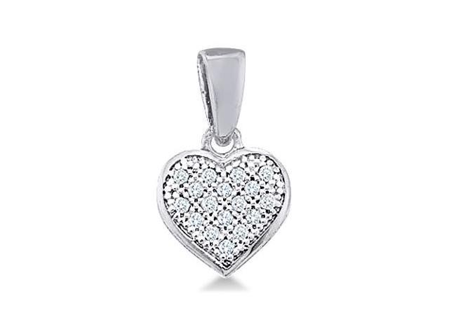 10k White and Yellow Two 2 Tone Gold Round Pave Set Love Heart Shape Diamond Pendant (.05 cttw, H Color, I1 Clarity)