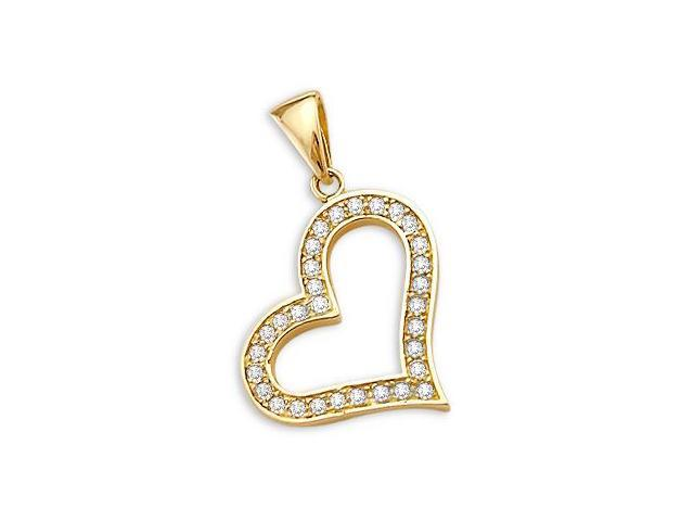 14k Yellow Gold Heart Love Charm Pendant Elegant (Height = 1