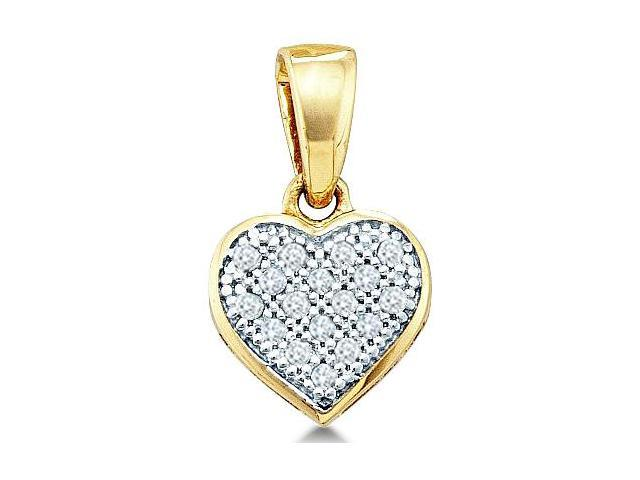 10k White Gold Round Pave Set Love Heart Shape Diamond Pendant - 7mm Width * 12mm Height (.05 cttw, H Color, I1 Clarity)