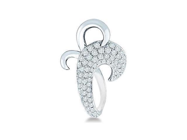 10k White Gold Large Twist Design Shape Round Diamond Pendant (1/4 cttw, H Color, I1 Clarity)