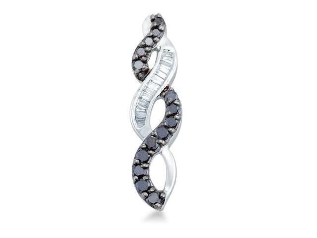 14k White Gold Black and White Round and Baguette Diamond Twist Infinity Dangle Pendant - 6mm Width * 24mm Height (1/3 cttw, H Color, I1 Clarity)