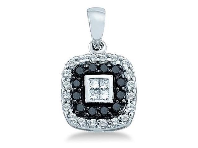 14k White Gold Black and White Round and Princess Cut Channel Invisible Set Diamond Pendant in Square Shape Setting - 11mm Width * 20mm Height (1/2 cttw, H Color, I1 Clarity)