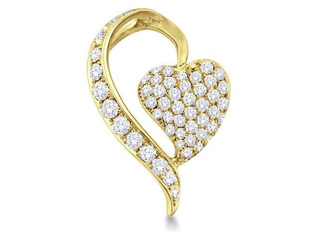 14k Yellow Gold Round Cut Diamond Heart Shape Love Pendant - 15mm Width * 23mm Height (3/4 cttw, G - H Color, SI2 Clarity)