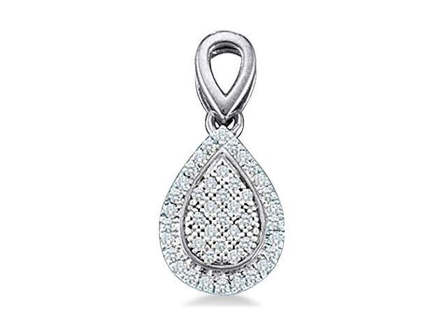 10k Yellow and Rose Gold Round Pave Set Diamond Pendant in Pear Shape Setting - 7mm Width * 16mm Height (1/8 cttw, H Color, I1 Clarity)