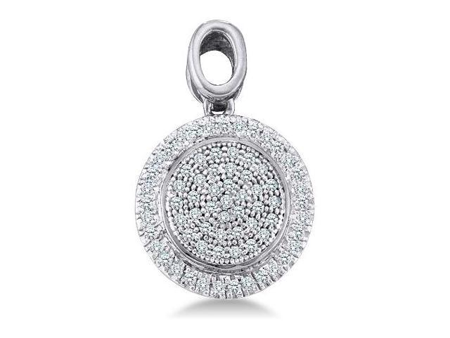 10k Yellow and White 2 Two Tone Gold Round Pave Set Diamond Circle Infinity Pendant - 13mm Width * 19mm Height (1/4 cttw, H Color, I1 Clarity)