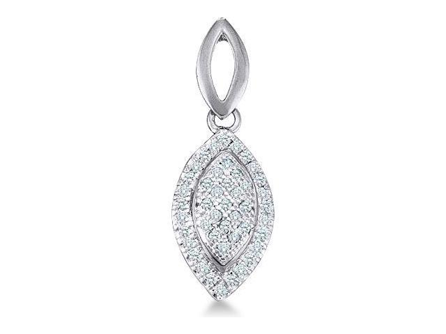 10k Yellow and Rose 2 Two Tone Gold Round Pave Set Diamond Pendant in Marquise Shape Setting - 7mm Width * 20mm Height (.15 cttw, H Color, I1 Clarity)