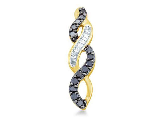 14k Yellow Gold Black and White Round and Baguette Diamond Twist Infinity Dangle Pendant - 6mm Width * 24mm Height (1/3 cttw, H Color, I1 Clarity)
