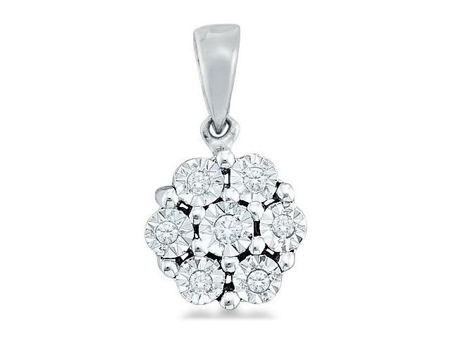 10k White and Yellow Two 2 Tone Gold Round Cut Diamond Pendant - 8mm Width * 12mm Height (.05 cttw, H Color, I1 Clarity)