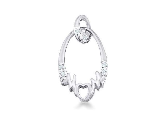 10k White White and Rose Gold Mom Heart Mothers Day Round Cut Diamond Pendant - 10mm Width * 19mm Height (.03 cttw, H Color, I1 Clarity)