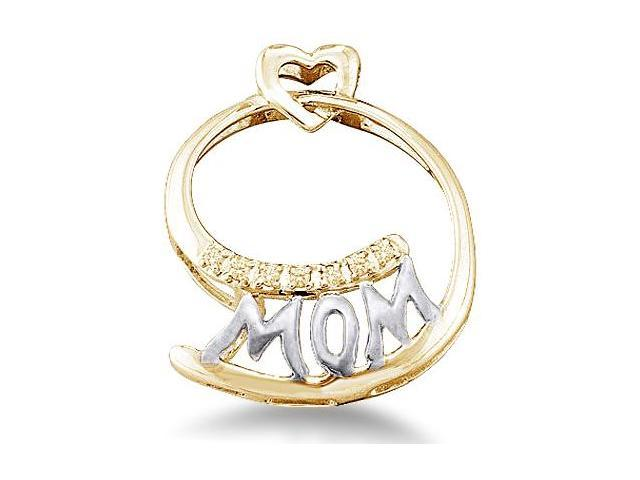 10k White and Yellow 2 Two Tone Gold Mom Heart Love Mothers Day Round Cut Diamond Pendant (.04 cttw, H Color, I1 Clarity)