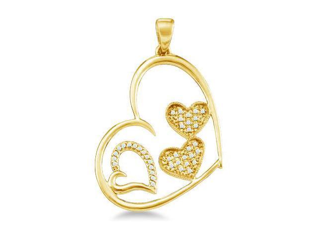 10k Yellow Gold Round Cut Pave Set Diamond Heart Shape Love Pendant (1/8 cttw, H Color, I1 Clarity)