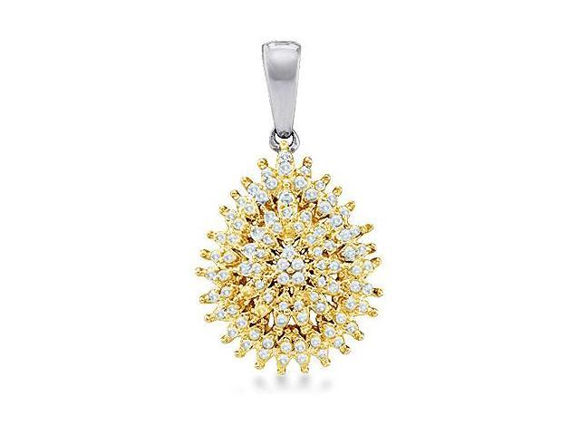 10k White and Yellow Two 2 Tone Gold Round Diamond Cluster Pendant in Pear Shape Setting - 14mm Width * 26mm Height (1/4 cttw, H Color, I1 Clarity)