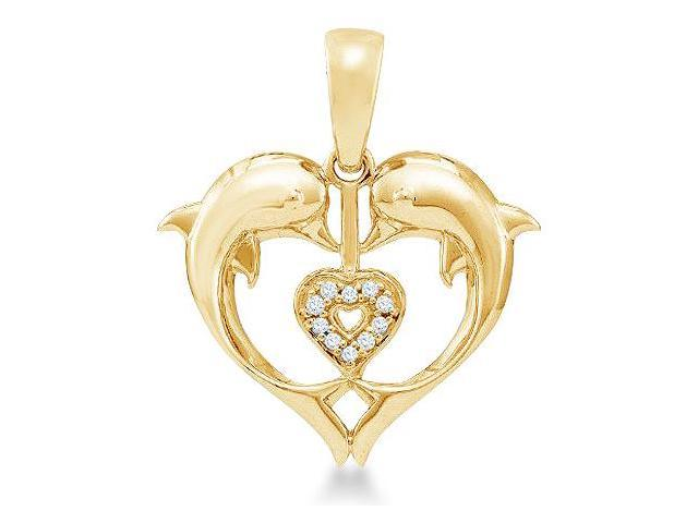 10k Yellow Gold Heart Shape Love Dolphin Round Cut Diamond Pendant (.03 cttw, H Color, I1 Clarity)