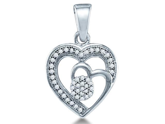 10K White Gold flower Heart Micro Pave Channel Set Round Diamond Pendant - (.15 cttw, G - H Color, SI2 Clarity)