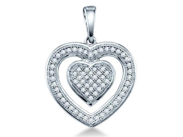 10K White Gold Heart Micro Pave Set Round Diamond Pendant - (1/5 cttw, G - H Color, SI2 Clarity)