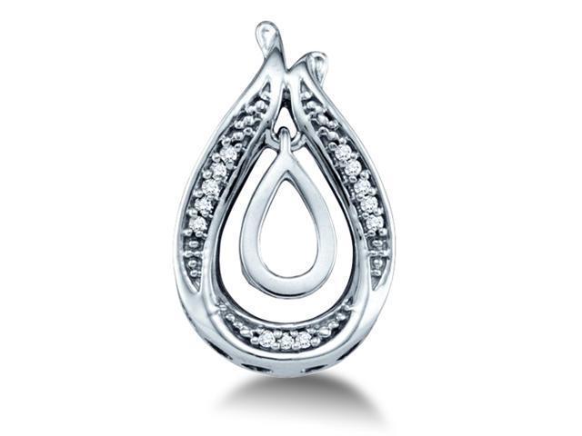10K White Gold Pear Shape Dangle Channel Set Round Diamond Pendant - (.04 cttw, G - H Color, SI2 Clarity)