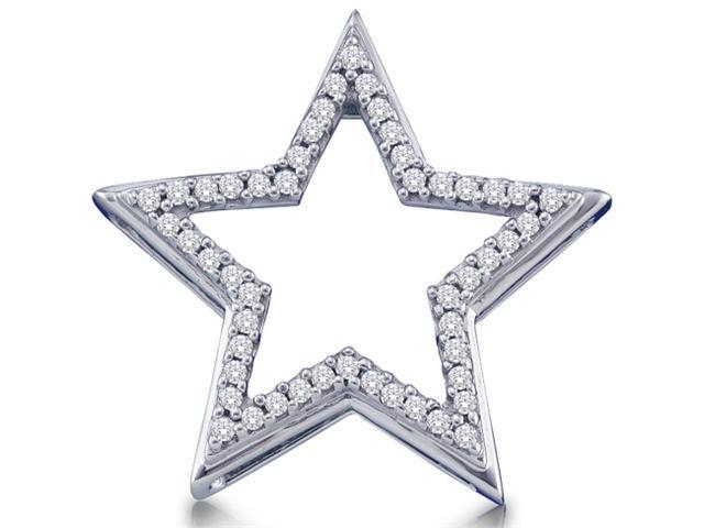 10K White Gold Star Channel Set Round Diamond Pendant - (.15 cttw, G - H Color, SI2 Clarity)