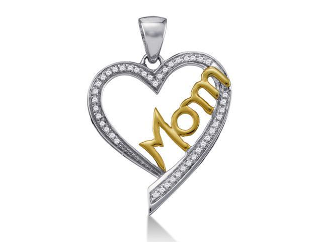 10K White and Yellow Two Tone Gold MOM Heart Micro Pave Set Round Diamond Pendant - (1/8 cttw, G - H Color, SI2 Clarity)