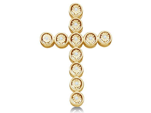 10K Yellow Gold Eternity Circle Cross Pave Set Round Diamond Pendant - (.04 cttw, G - H Color, SI2 Clarity)