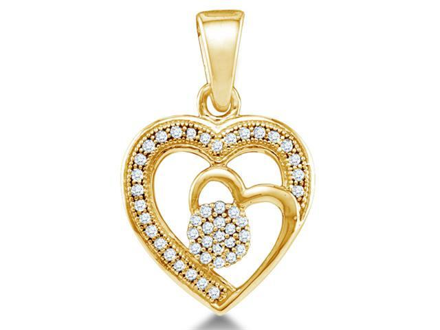 10K Yellow Gold flower Heart Micro Pave Channel Set Round Diamond Pendant - (.15 cttw, G - H Color, SI2 Clarity)