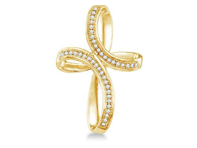 10K Yellow Gold Infinity Cross Micro Pave Set Round Diamond Pendant - (1/8 cttw, G - H Color, SI2 Clarity)