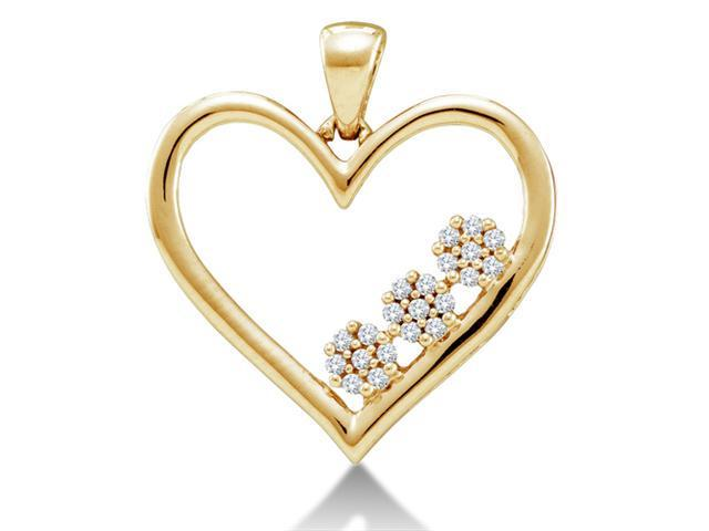 10K Yellow Gold Three 3 Flower Heart Channel Set Round Diamond Pendant - (.07 cttw, G - H Color, SI2 Clarity)