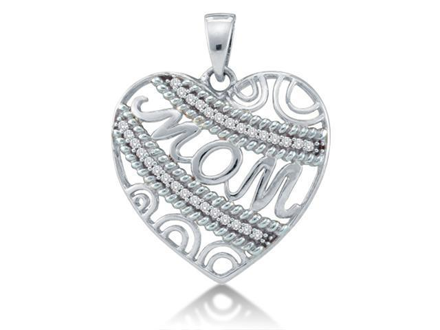 10k White Gold MOM Heart Channel Set Round Diamond Pendant - (1/10 cttw, G - H Color, SI2 Clarity)