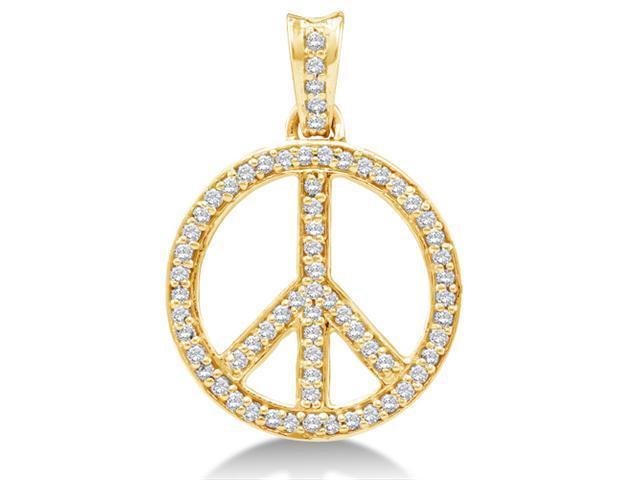 10K Yellow Gold Dangle Drop Peace Sign Channel Set Round Diamond Pendant - (1/4 cttw, G - H Color, SI2 Clarity)