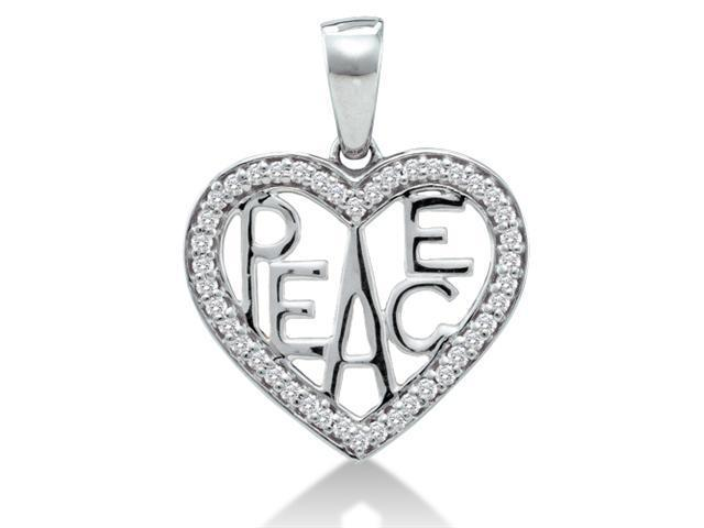 10K Yellow Gold Peace Heart Channel Set Round Diamond Pendant - (.15 cttw, G - H Color, SI2 Clarity)