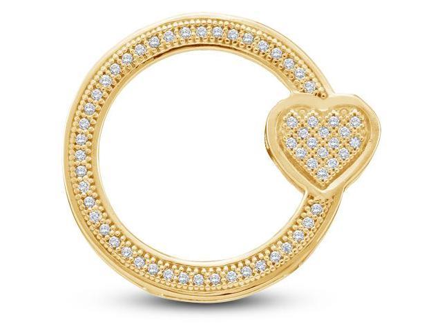 10K Yellow Gold Heart Eternity Micro Pave Set Round Pendant - (.15 cttw, G - H Color, SI2 Clarity)