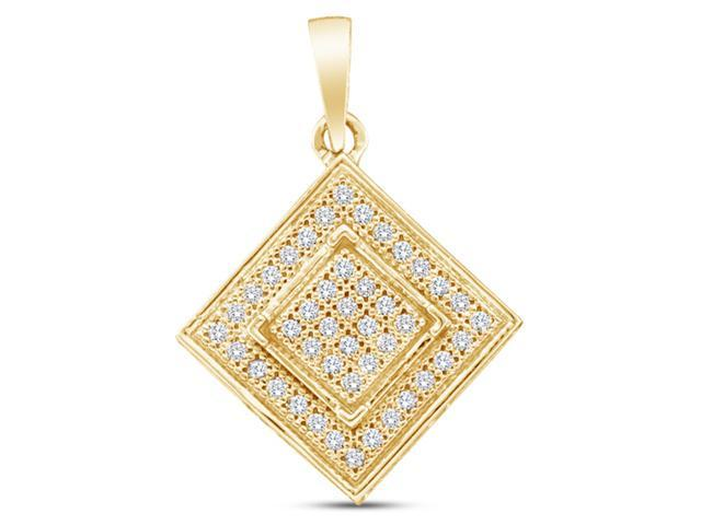 10K Yellow Gold Square Shape Micro Pave Set Round Diamond Pendant - (1/8 cttw, G - H Color, SI2 Clarity)